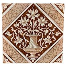 Brown Transferware English Tile ~ Classical 1885