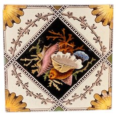 Victorian English Transferware Tile ~ SEA SHELLS 1885