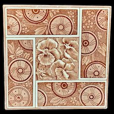 Maroon Red PANSIES English Tile ~ 1881