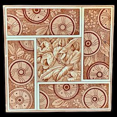 Maroon Red CHESTNUTS English Tile ~ 1881