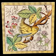 Victorian Brown Transferware Tile ~ BIRD & BERRIES 1880