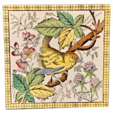 Victorian Brown Transferware Tile ~ BIRD & BERRIES 1880