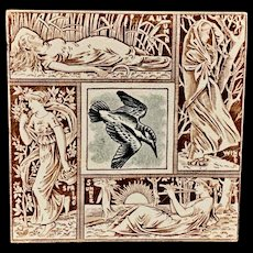 Seasons Tile ~ KINGFISHER ~ Spring - Summer - Autumn - Winter 1876