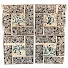 Artist Kate Greenaway Tiles ~  Seasons Set ~ 1881