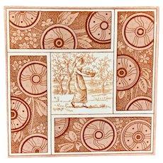 Artist Kate Greenaway Tile ~ Autumn ~ 1881