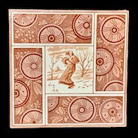 Artist Kate Greenaway Tile ~  Winter ~ 1881