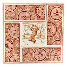 Artist Kate Greenaway Tile ~  Winter ~ 1881