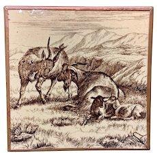 MINTON William Wise Farm Goats Tile Copper Frame 1879