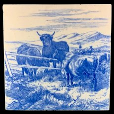 MINTON William Wise Farm Animals ~ Cows ~ Tile 1879