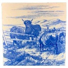 MINTON William Wise Farm Animals ~ Cows ~ Tile 1879