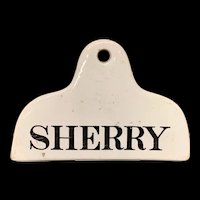 Wine Cellar Bin Label England 1800 - 1840 ~ SHERRY