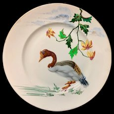 French Polychrome Enameled Ornithological Plate