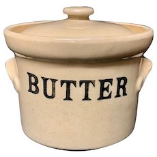 English Stoneware BUTTER Dairy Shop Tub c1920