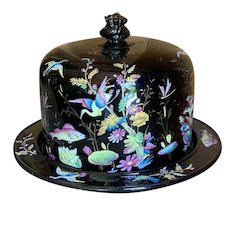 Superb Huge Enamel Painted English Huge Cheese Dome 1880