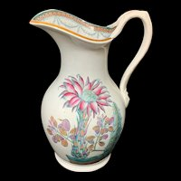 Victorian Transferware Water Pitcher ~ Epiphyllum Orchid Cactus 1880