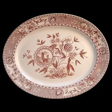 Brown Transfer Aesthetic Movement Platter 1885 ~ Sitka Alaska