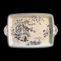 1884 ~ Black Transferware Platter ~ WATERLILIES 1884 Tennyson