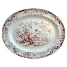 """1880 ~ Large Aesthetic Movement 18"""" Transfer Platter ~ Detroit"""