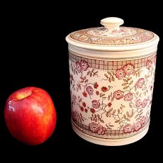 Polychrome Brown Transferware Biscuit Jar ~ 1875 GORDON
