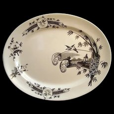 Large Aesthetic Black Transferware Platter ~ NANKIN 1881