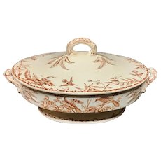 Brown Transferware Hummingbird Tureen ~ Indus 1885