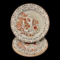 Four Brown Transferware Polychrome Plates ~ DEVONSHIRE Staffordshire 1885