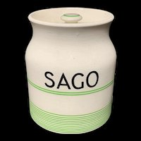 Cornishware Banded Kleen Kitchen Ware Storage Jar ~ SAGO ~ c 1940