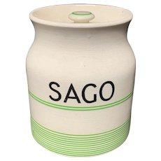 Cornishware Banded Kleen Kitchen Ware Storage Jar ~ SAGO ~ c 1940