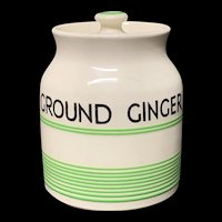 Cornishware Banded Kleen Kitchen Ware Storage Jar ~ GROUND GINGER ~ c 1940