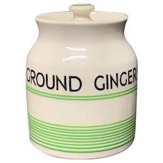 Cornishware Banded Kleen Kitchen Ware Storage Jar ~ GROUND GINGER ~ c 1940