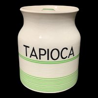 Cornishware Banded Kleen Kitchen Ware Storage Jar ~ TAPIOCA ~ c 1940