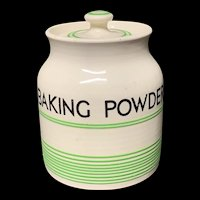 Cornishware Banded Kleen Kitchen Ware Storage Jar ~ BAKING POWDER ~ c 1940