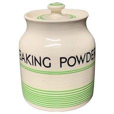 Cornishware Banded Kleen Kitchen Ware Storage Jar ~ BAKING POWDER ~ c 1940