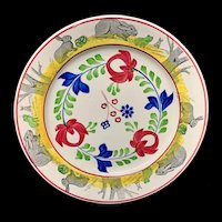 c 1900 ~ Stick Spatter Spongeware Rabbitware Ironstone Plate ~ Adams Rose