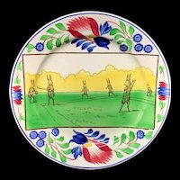 c 1900 ~ Stick Spatter  Rabbitware Rabbit Plate ~ BASEBALL