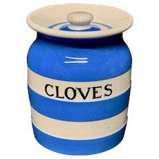 Cornishware Banded Kitchen Ware Storage Jar ~ CLOVES ~ c 1930 - 1940