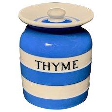 Cornishware Banded Kitchen Ware Storage Jar ~ THYME ~ c 1930 - 1940