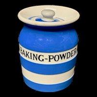 Cornishware Banded Kitchen Ware Storage Jar ~ BAKING POWDER ~ c 1930 - 1940