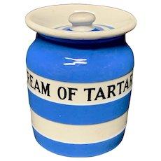 Cornishware Banded Kitchen Ware Storage Jar ~ CREAM of TARTAR ~ c 1930 - 1940