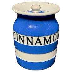 Cornishware Banded Kitchen Ware Storage Jar ~ CINNAMON ~ c 1930 - 1940