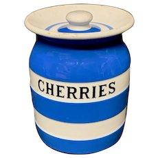 Cornishware Banded Kitchen Ware Storage Jar ~ CHERRIES ~ c 1930 - 1940