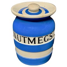 Cornishware Banded Kitchen Ware Storage Jar ~ NUTMEGS ~ c 1930 - 1940