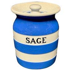 Cornishware Banded Kitchen Ware Storage Jar ~ SAGE ~ c 1930 - 1940