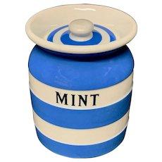 Cornishware Banded Kitchen Ware Storage Jar ~ MINT ~ c 1930 - 1940