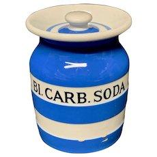 Cornishware Banded Kitchen Ware Storage Jar ~ BI CARB SODA ~ c 1930 - 1940