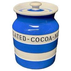 Cornishware Banded Kitchen Ware Storage Jar ~ DESSICATED COCOA NUT ~ c 1930 - 1940