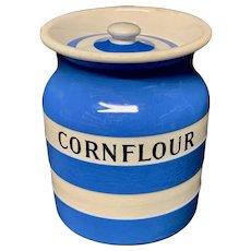 Cornishware Banded Kitchen Ware Storage Jar ~ CORNFLOUR ~ c 1930 - 1940
