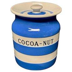 Cornishware Banded Kitchen Ware Storage Jar ~ COCOA NUT ~ c 1930 - 1940