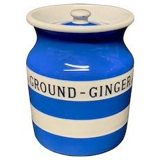 Cornishware Banded Kitchen Ware Storage Jar ~ GROUND GINGER ~ c 1930 - 1940