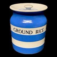 Cornishware Banded Kitchen Ware Storage Jar ~ GROUND RICE ~ c 1930 - 1940
